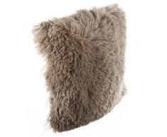 Coussin imitation fourrure poil long Taupe, 40 x 40 cm -PEGANE- - Textile séjour