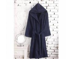 Peignoir Capuche Velours Uni CONSTANT Bleu Nuit 3 - L - Linge de bain