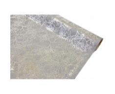 Chemin de table velours imprimé gris et argenté - 28 cm x 4 m - Objet à poser