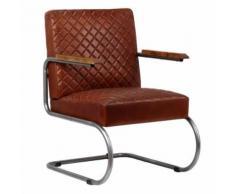 Meelady Fauteuil Cuir Véritable en Style Classe Moderne pour Salon/Bureau Marron Foncé 63 x 75 x 88 cm - Chaise
