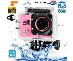 Camera sport wifi étanche caisson waterproof 12 MP Full HD Rose 16Go - Caméscope à carte mémoire