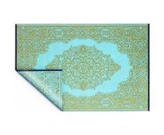 Fabhabitat - Tapis intérieur extérieur Istanbul aqua et bronze 150 x 90 cm - Tapis et paillasson
