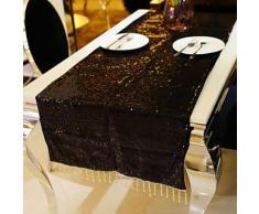 Chemin de table solide noir en tulle pailleté - linge de table et décoration
