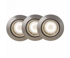 BRILLIANT Kit de 3 spots LED encastrables orientables Honor GU10 5W gris - Appliques et spots