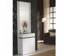 Meuble d'entrée Blanc/Noyer + miroirs - ELOE - Commodes