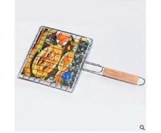 Alpexe Grille cuisson barbecue poisson et viande en acier poignee bois resistance haute temperatures - Accessoires appareil de cuisson
