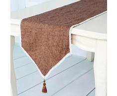 Chemin de table solide en lin et coton Marron - Autres