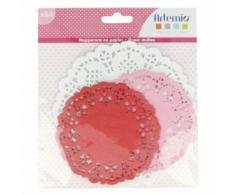60 napperons ronds papier rose-rouge-blanc Ø 10-14 cm - Objet à poser