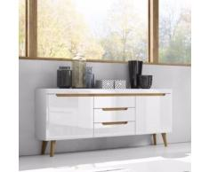 LIVING III commode scandinave - effet chêne / blanc brillant - Commodes