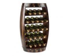 Klarstein Barrica Etagère casier forme tonneau pour 22 bouteilles de vin - bois - Accessoire cave à vin