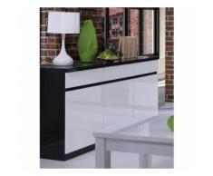 Buffet, bahut, enfilade 3 portes et 3 tiroirs FABIO + Miroir. Noir et blanc brillant. Meuble pour salon salle à manger - Buffets