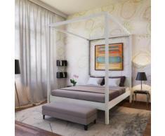 Lit double à baldaquin ROMANCE 140x190 / Blanchi - Cadre de lit