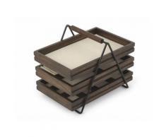 Boite à bijoux 3 tiroirs de rangement en bois noyer 17.8x25.4x20.3cm TERRACE - Boite de rangement