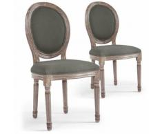 Lot de 2 chaises médaillon Louis XVI Tissu Gris - Chaise