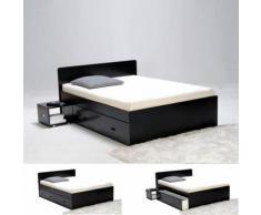 Lit double XENIA 140x190 + 2 chevets + 2 tiroirs / Noir - Cadre de lit