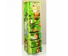 Commode chambre enfant rangement motif jungle avec 7 tiroirs 86x23x18cm APE06024 - Objet à poser
