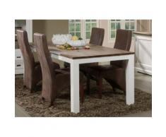 Grande table à manger contemporaine en bois massif blanc EMELINE - Tables salle à manger