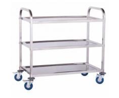 Chariot de service cuisine professionnel inox 3 étages max 480 kg 3614112 - Accessoires de rangement