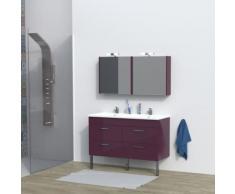 Ensemble meuble sous-vasque + vasque résine + 2 armoires avec miroir MILANO / Aubergine - Meubles de salle de bain