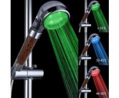 Pommeau de douche LED Controlé contrôlée 3 couleurs à double massage - Accessoires salles de bain et WC