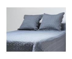 Couvre-lit Boutis uni Gris 220x240 cm avec 2 taies d'oreiller - Linge de lit
