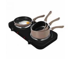 Plaque de cuisson électrique double + 3 casseroles + 3 pôeles - TAUPE - Grillade et barbecue