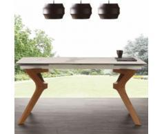 Table avec rallonge en céramique et en bois LOGAN - L 240 x P 90 x H 76 cm - Tables salle à manger