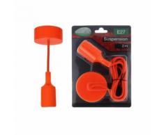 Suspension orange vif avec douille pour ampoules LED culot E27 longueur 2m - Équipements électriques pour luminaire
