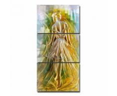 Tooarts Impression sur Métal Ballet Fille Peinture Images Photo Tableau motif moderne - Décoration - pret a accrocher 3 Panneaux Fer Multicolore - Objet à poser
