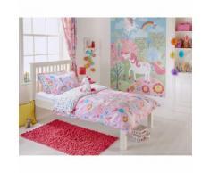 Riva Home - Draps housse Licorne - Enfant (Taille 3: Lit double) (Rose) - UTRV1054 - Equipement du lit