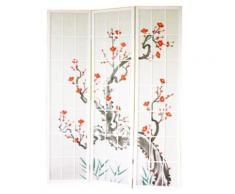 Paravent en bois avec fleur de cerisier blanc de 3 pans -PEGANE- - Objet à poser