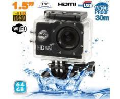 Caméra sport WiFi embarquée plongée caisson Full HD 1080P Noir 64 Go - Caméscope à carte mémoire