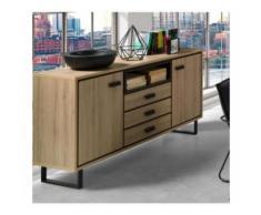 Buffet, bahut, enfilade moyen modèle SOLO deux portes, trois tiroirs. Meuble design Salon, salle à manger, cuisine, bureau... - Buffets