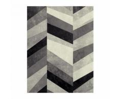 BELIS Tapis de salon 120x170 cm Gris noir et Blanc - Tapis et paillasson