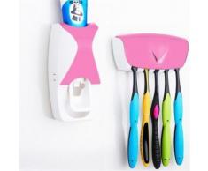 Distributeur Dentifrice automatique Mural Pressoir Porte 5 Brosses A Dents Rose - Accessoires de bain