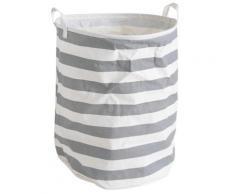 Panier à linge en polyester coloris gris et blanc, Ø 40 h 50 cm -PEGANE- - Accessoires de bain