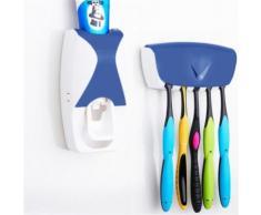 Distributeur Dentifrice automatique Mural Pressoir Porte 5 Brosses A Dents Bleu - Accessoires de bain