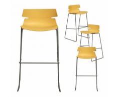 Chaise haute jaune design FAITH 3, lot de 4 - Tabourets