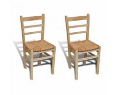 vidaXL 2x Chaise de Salle à Manger Bois de Pin Chaise de Cuisine Chaise à Manger - Chaise