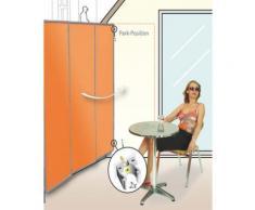 Paravent extérieur, intérieur Ivoire en polyester 140 g/m² anti-UV avec 3 panneaux pliables, 170 x 70 cm -PEGANE- - Objet à poser