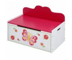 Banc coffre à jouets chambre enfant papillon 68 cm - Canapés