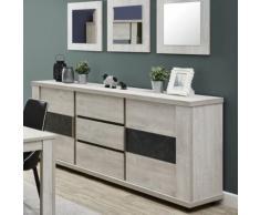 Nouvomeuble - Enfilade contemporaine couleur chêne gris roseta - Buffets