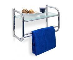 Relaxdays 10019264 étagère avec 2 porte-serviettes murale + plateau verre argenté 23 x 45 x 34 cm - Accessoires de rangement