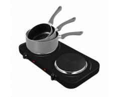 Plaque de cuisson électrique double 2500W 2 feux 155mm et 185mm + Set 3 casseroles Gris - Grillade et barbecue