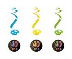 Lot de 4 suspensions spirale 40 ans - 60 cm - Objet à poser