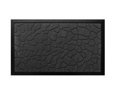Paillasson Noir Tapis Entrée Luxe Antidérapant Caoutchouc Relief Galet 45 x 75cm - Linge de cuisine