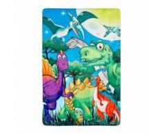 Tapis lavable en machine multicolore enfant dinosaure - Tapis et paillasson