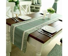 Chemin de table de style américain en coton et polyester vert 35cm x 220cm - Autres