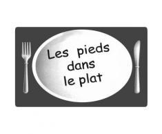 Grand Tapis De Cuisine Soft Design Humour Pieds Dans Le Plat 45x70cm Gris - Tapis et paillasson