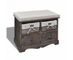 vidaXL Banc de rangement brun en bois avec 2 paniers tissage et tiroirs - Bancs